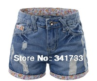 new sale big Size Women's Denim Shorts/Fashion Ladies' Short Jeans/waist 71cm~96cm S~9XL Mid Waist/rose cuffs good quality