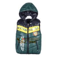 Retail 2015 new children's waistcoat winter multicolor thick cap children vest dress coat free shipping