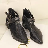 2014 Women's Shoes Crocodile Skin Cutout Heel Boots Fashion Genuine PU Leather Pointed Toe Shoes