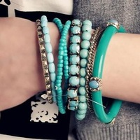 Min Order $5 (Mix Order) new 2014 3 colours New Arrival Bohemia Bangle 9 layers Bangle Bracelet Jade Beads Bangle Bracelet