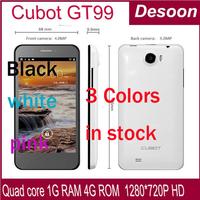 "cubot gt99 4.5 "" 1280X720 HD screen MTK6589 Smart Phone android 4.2 quad core 8.0 MP 1.2 GHZ RAM 1GB WCDMA 3G WIFI Bluetooth"
