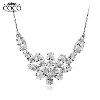 Twinkle Cubic Zirconia Flower Pendant Luxury Fashion Necklace Wholesale Girls Weddings & Events Jewelry CN003