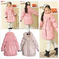Big Promotion 2015 New Arrival Fashion Long Sleeve Autumn Winter Coat Kids Girl Wear Coat Warm Thicken Winter Coat 2 Colors