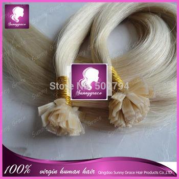 #60 European hair 1g/s 100s/pack Silky Straight 100% Virgin Human Hair Flat Tip Pre-bonded Fusion Hair Extensions