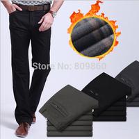 2014 winter Men Plus velvet casual pants Straight trousers /size 29-40 black gray brown