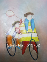 Gift For Kids Oil Painting Children and Bike By Hand Modern Art Decor Your Home On Sales