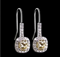 Luxury  Fine Jewerly ,white gold plated earrings,2ct SONA simulated diamond earrings for women Anti allergic hoop earrings