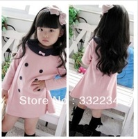 2014 new girls double-breasted models fall long-sleeved dress pink explosion models