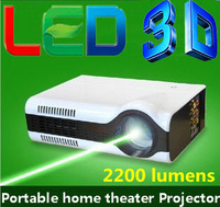Free shipping !! Low Cost Pocket LED 3D home theater video Projector with 2200 lumens brightness led lcd digital Proyector beam