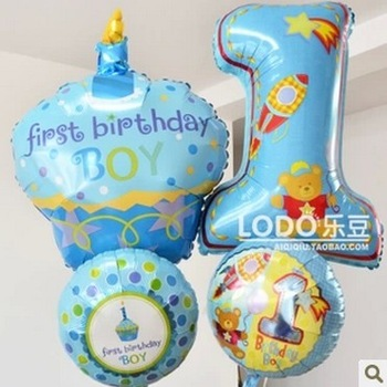 U.S. Anagram Aluminum Foil Balloon boys Baby 1 year old Candle Cake bolloons First birthday Party Celebration decoration 4pcs