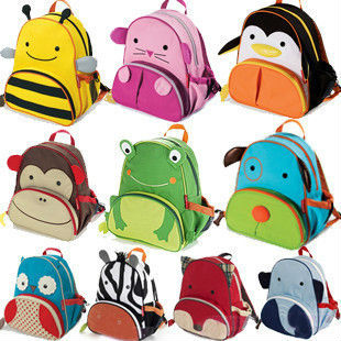 16 models Wholesale 2013 Kids Print Cartoon Animal Backpack Bag / Canvas Shoulder School bag for Children, Free Shipping 1707