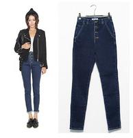 Hot Sale!New 2014 100% cotton Stretch jeans women Denim trousers   Popular Fashion famous brand plus size S M L  jeans woman