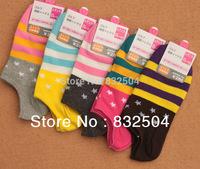 Free Shipping 5 Pairs/lot Women brand Socks  stars stripes  Cotton Sock,Candy Color stars Fashion Short Socks,Many Colors WXT