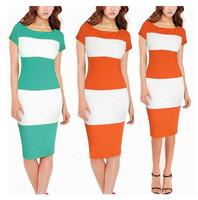Free shipping Elegant women's Korea fashion Stunic Slimming Slash Collar Sexy Stripe Career formal Party Sheath Shift Dress