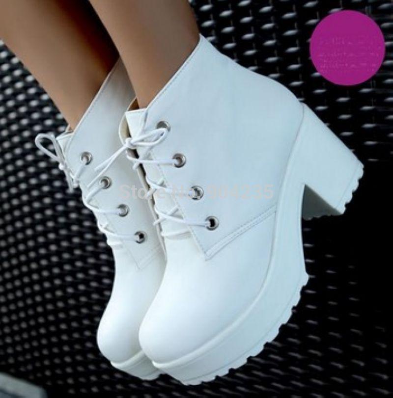 New Fashion Black&White Punk Rock Lace Up Platform Heels Ankle Boots thick heel platform shoes(China (Mainland))