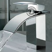 Brand New Polished Basin sink Mixer waterfall Tap, single lever single hole Deck Mount Bathroom basin waterfall Faucet XB-100
