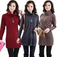 Designer Sweater Dress 2014 Women Sweater Pullover Turtleneck Elegant Long Sleeve Winter Dress Knitwear Free Shipping