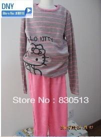 Free shipping new arrival hello kitty 2014 autumn girl clothing pajama set   stripe  sleepwears nightgowns with  Printing velvet