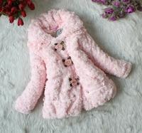 (90-120cm) 4pcs/lot  tomentum-tomenta fur kids outwear autumn -winter thicker warm sweatshirts rose button design free shipping