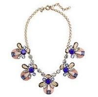2013 fashion new arrival JC  Luxury Jewelry Mix Crystal and Resin Statement Necklace Costume OEM wholesale