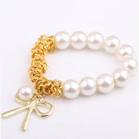 $10 (mix order) Free Shipping 2014 New Fashion Charm Bracelet With Gold Butterfly Bow White Pearl Chain