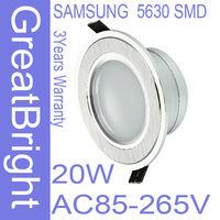 2pcs/lot 20W led recessed downlight lamp dimmable 110V  220V 240V AC85-265V 3years warranty  wholesame price :TDB20