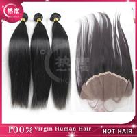 3pcs Peruvian Virgin Hair Bundles with 1pc 13*4 Lace Frontal Closure, Virgin peruvian hair  Straight Lace Frontal