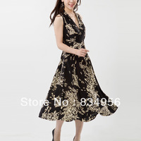 New 2014 summer chinese style V-neck milk, silk ultra long one-piece dress haneda the peacock print chiffon beach dress