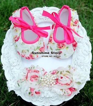 baby christening shoes baptism flower headband for ballet dimond;Girl Crib Set,sapato de bebe recem nascido #2B1907 3 set/lot