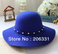 Free Shipping 2013 Women Hat Winter Hats Pure 100% Wool Hat Fashion Big Brim For Women Rivet Hat Hot Selling