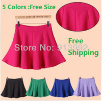 Free shipping Fall Autumn winter bust skirt women high waist sun pleated slim hip skirt large swing short skirts female