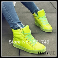 2013 New Arrival  Four Seasons Fashion Female  Candy Colors Short Boots  High-top Casual Shoes   height Increasing Lovers Shoes