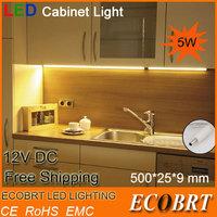 new indoor lighting bulbs 50cm long aluminum 12v 5w led linear cabinet strip light for kitchen under bar lights dimmale ce rohs