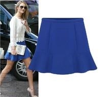 2014  New Fashion Women Spring and Summer OL Blue Solid Chiffon Bust Short Skirt Liadies Short Dress S M L XL XXL