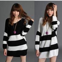 Free shipping Korean manufacturers supply loose big yards sweater striped sweater bat sleeve sweater autumn sweater 300 g