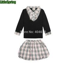 ZTS  Retail Spring and Autumn Children Clothing set kids girls sets Classic plaid shirt tops+ skirt 2pcs girls suit girl sets(China (Mainland))