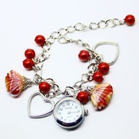Fashion Crystal Quartz Ladies Bracelet Watch Colorful Seashell Beads Stainless Steel Chian Free Shipping