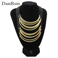 2014 Adjustable MultiLayer Many Rubber Band Pass Through Gold Pipe Statement Necklaces Fashion Vintage Necklace