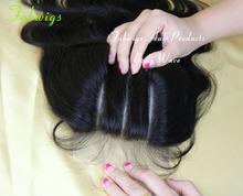 3 Way Part Swiss Lace Top Closure Bleached Knots Virgin Brazilian Hair Body Wave 4x4 Humana Hair piece Virgin Wavy Hair(China (Mainland))