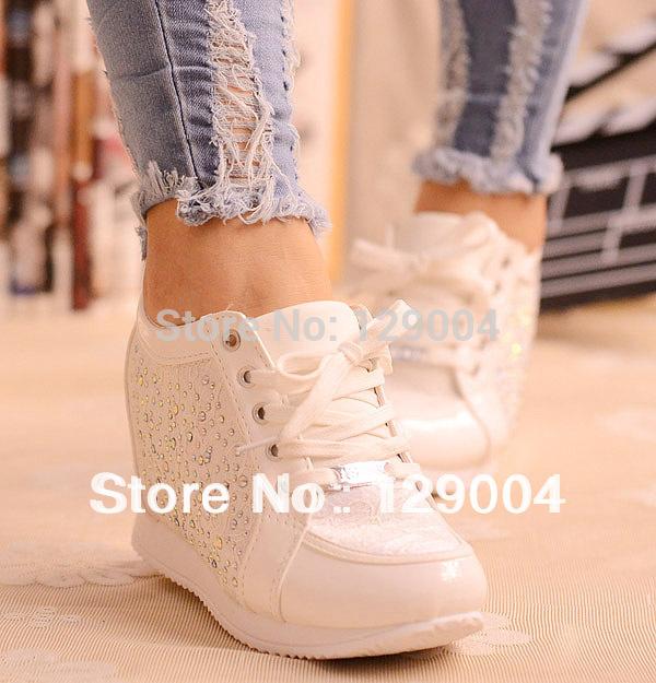 Black White Free Shipping Hidden Wedge Heels Fashion Casual Women's Elevator Shoes Sneaker Sports Shoes For Women Rhinestone A R(China (Mainland))
