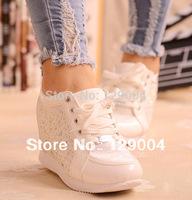 Black White Free Shipping Hidden Wedge Heels Fashion Casual Women's Elevator Shoes Sneaker Sports Shoes For Women Rhinestone A R
