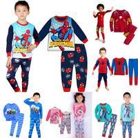 new fashion Frozen Princess kids long sleeve cotton pajama sets retail children baby boys girls nightwear sleepwear clothing