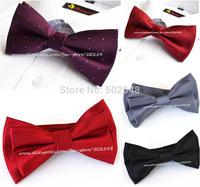 Pre-tied Adjustable Mens Bowtie Bow Ties Solid Purple Silk Bow Tie Men Accessories Free Shipping 3 pcs