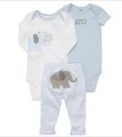 Carters retail 3-piece bodysuit pant set (Size 3M)  baby clothes Blue elephant long sleeve/short sleeve bodysuits+ Pant