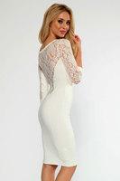 2014 Summer Spring Cream Lace Insert Midi Dress Long Sleeve LC21714 vestido de festa Fashion Fall Dresses Girls Women Clothes