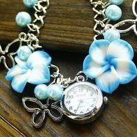 2014 Free shipping ladies quartz watch wholesale clay bracelet watches women ladies quartz watch