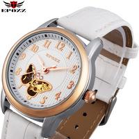 2014 Watches women fashion luxury diamond white skeleton genuine leather mechanical watch for ladies girls relogio automatico