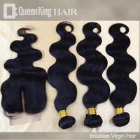 "Brazilian Virgin Hair Extension,1 Piece Lace Top Closure with 3Pcs ,Body Wave 14""-24"" Hair Bundles"