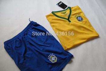 2014 world cup Brazil Kids home Kit soccer jerseys Kids jerseys top 3A+++ quality Brazil Kids jerseys Free shipping