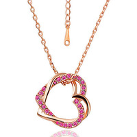 Free Shipping White Gold Plated Double Hearts Necklace, Make With Austria Crystal Necklace   (HLJ 032)